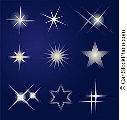 luminoso, jogo, estrelas