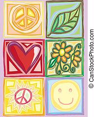 luminoso, paz, amor, caixas