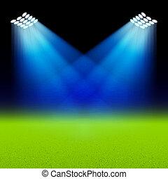 luminoso, verde, holofotes, iluminado