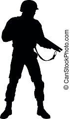 lutador, polícia revolta, vetorial, silueta, armado, esquadra