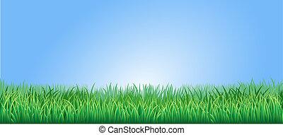 luxuriante, capim, verde, ilustração