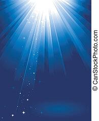luz azul, estrelas, estouro