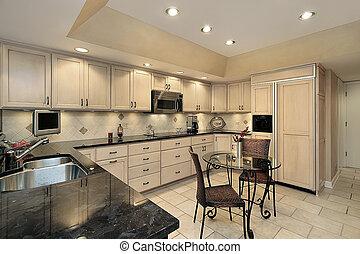 luz, carvalho, cabinetry, cozinha