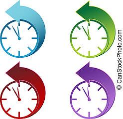 luz dia, poupança, relógio, tempo