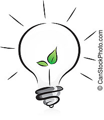 luz, eco-amigável, bulbo, seedling