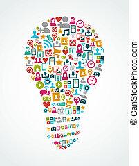 luz, eps10, ícones, mídia, idéia, isolado, social, bulbo, file.