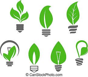 luz, folhas, verde, bulbos