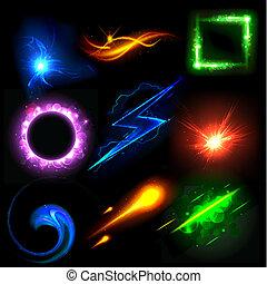 luz, glowing, efeito