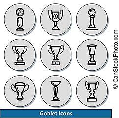 luz, goblet, ícones