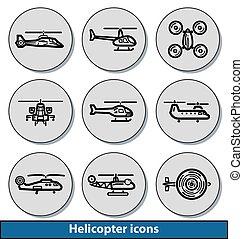 luz, helicóptero, ícones