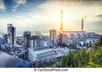 luz, indústria, petrochemical, brilho, sunset.