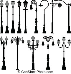 luz, lâmpada, rua, lamppost, poste