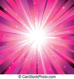 luz, magenta, estrelas, cintilante, estouro
