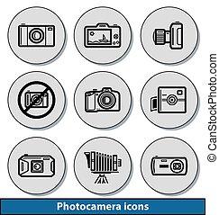 luz, photocamera, ícones