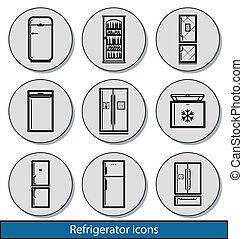 luz, refrigerador, ícones