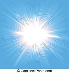 luz, starburst, céu
