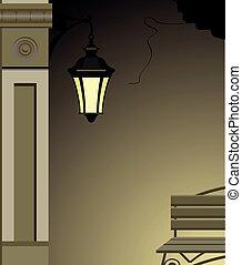 luz, vetorial, rua