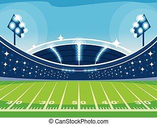 luzes, americano, jogo, estádio, futebol, futebol