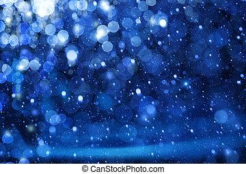 luzes azuis, arte, natal, fundo