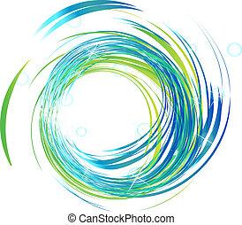 luzes azuis, luminoso, logotipo, ondas