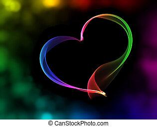 luzes, bokeh, coração, coloridos
