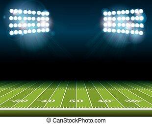 luzes, estádio americano futebol, campo