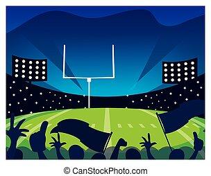 luzes, futebol, estádio, futebol americano, jogo