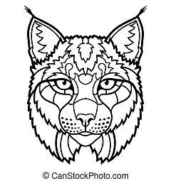 lynx, wildcat, isolado, linha, mascote, esboço, arte, cabeça