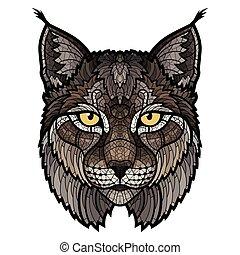 lynx, wildcat, isolado, mascote, cabeça
