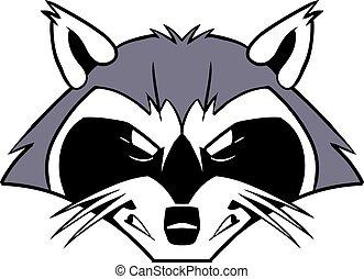 má, áspero, caricatura, guaxinim, mascote
