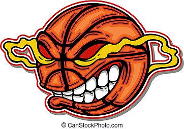 má, basquetebol, caricatura, rosto