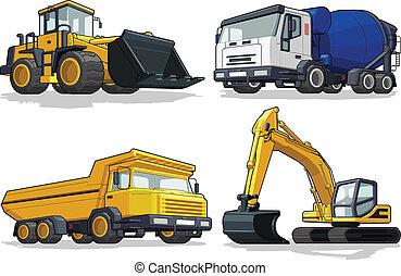 máquina, c, construção, -, escavadora
