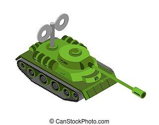 máquina, isometric, tanque brinquedo, clockwork, experiência., militar, branca, plaything