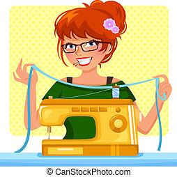 máquina, menina, cosendo