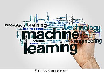 máquina, palavra, aprendizagem, nuvem