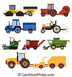 máquina, set., vetorial, harvester