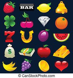 máquina slot, coloridos, ícones