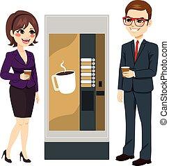 máquina, trabalhadores, café