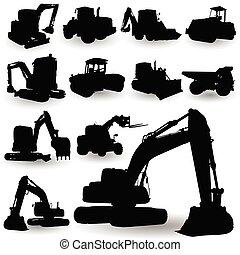 máquina, trabalho construção, silueta