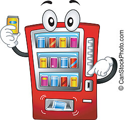máquina, vending, mascote
