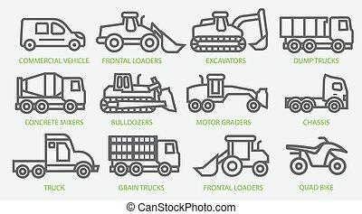 máquinas, ícone, construção, vehicles., especiais, illustration., comercial, vetorial, work., equipment., estoque, jogo