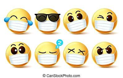 máscara, vetorial, expressões, facemask, rosto, set., olho, smiley, covid-19, emoji