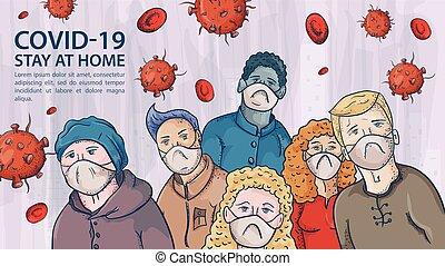 máscaras, aviso, coronavirus, vermelho, covind, muitos, moléculas, 2019-ncov, etiqueta, vírus, pessoas, médico