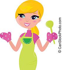 mãe, alimento, isolado, preparar, verde, saudável, cozinhar, branca