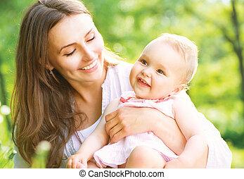 mãe, bebê, outdoors., natureza, bonito