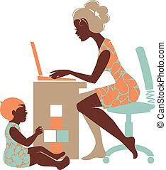 mãe, –, freelancer, caderno, silueta, bonito