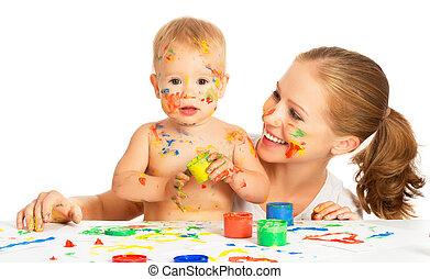 mãe, isolado, pintura, cores, mãos sujas, bebê, branca