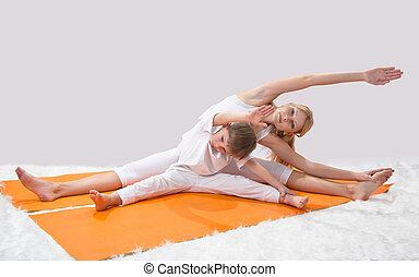 mãe, jovem, práticas, filho, ioga, dela, bonito