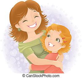 mães, illustration., saudação, dia