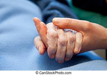 mão, antigas, cuidado idoso